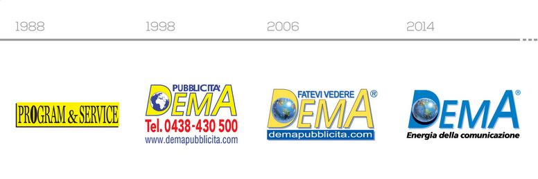 Dema Pubblicità-Evoluzione Logo Dema Pubblicità